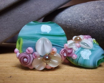 Teal Swirl Bouquet - Lampwork Glass Flower Bead- UK Handmade - pair of beads