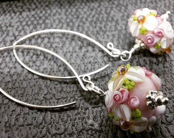 Floribunda - Pink Petals - Hand crafted glass and silver earrings
