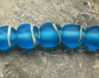 Turquoise  Etched  Glass Beads - Made To Order - SRA - British Lampwork