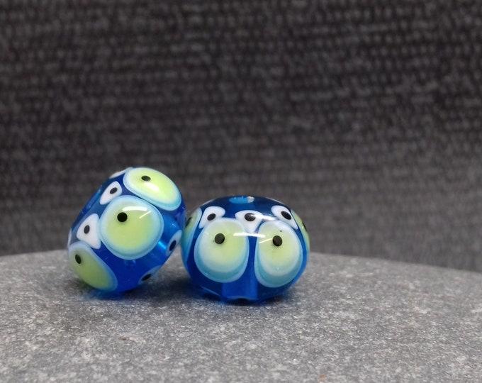 Featured listing image: Turquoise Fiesta Lampwork Bead Pair - Handmade glass bead - UK Handmade