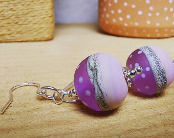 Summer Polkadot Earrings - sterling silver - Handmade glass bead - ukhandmade