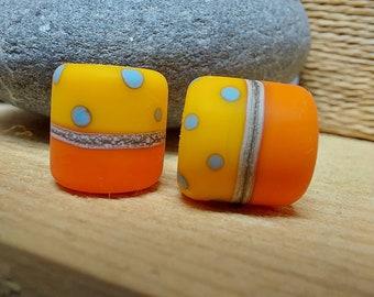 Polkadot barrel beads - earring pair - UK handmade - lampwork glass