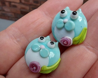 Turquouse Tuxedo kitty bead pair  - Made To Order - lampwork glass beads - UKhandmade