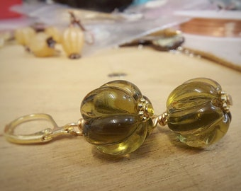 Olive Green Earrings - Gold Plated - ukhandmade