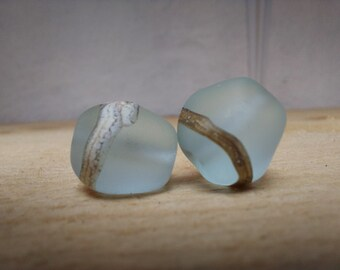 Pair of etched baby blue lampwork nuggets