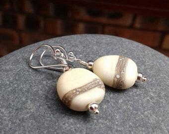 Etched creamy pebble bead earrings - UKhandmade