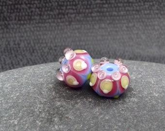 Periwinkle Fiesta Lampwork Bead Pair - Handmade glass bead - UK Handmade