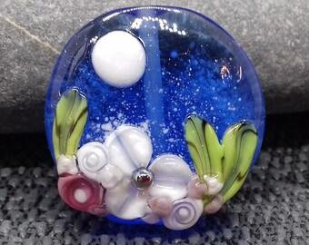 Floral lampwork glass focal bead - jewellery making - UKhandmade