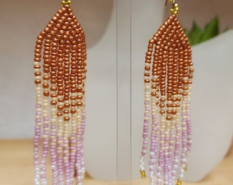 Copper, pearl, pink and white fringe earrings - tassel earrings - seed bead jewellery - UK made