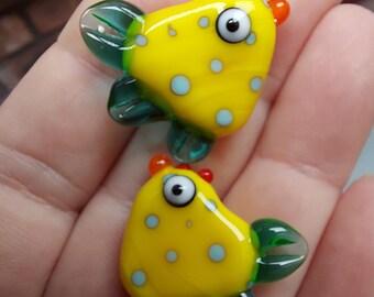 Spotty Yellow Ckicken Bead Pair - hand sculpted lampwork glass beads