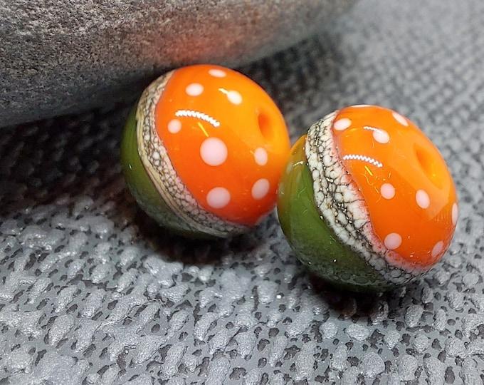 Featured listing image: Round Half and Half Polkadot Bead Pair - Lampwork Glass Beads - UKHandmade