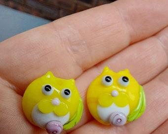Sunshine Yellow Tuxedo kitty bead pair  - Made To Order - lampwork glass beads - UKhandmade