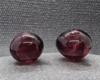 Hollow purple bead pair - handmade lampwork bead -