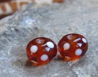 Dotty Amber Earring Pair - Made To Order - British Lampwork - SRA