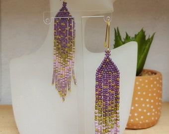 Lavender, Pink and Gold fringe earrings - tassel earrings - seed bead jewellery - UK made
