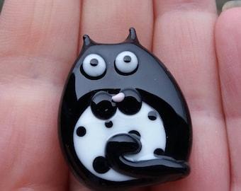 Cat Bead / Tuxedo / lampwork bead / Made To Order / uk / animal bead / spotty bead / jewelry making / loose beads