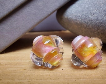 Pink Blossom Ornate Bead Pair - lampwork glass beads - UK handmade