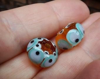 Amber Fiesta Lampwork Bead Pair - Handmade glass bead - UK Handmade