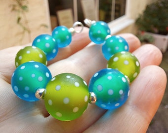 Frosted turquoise and lime polkadot bead set - lampwork glass bead set