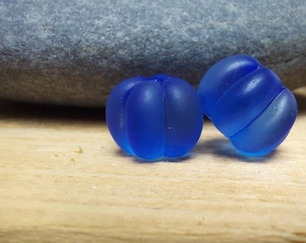 Frosted mid blue pumpkin shaped bead pair - lampwork glass beads - UKhandmade