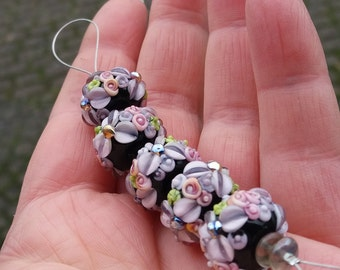 Lampwork Beads / Made To Order /  Daisies / Lampwork Rondelle Bead Set / SRA / OOAK / jewelry supplies / jewelry making
