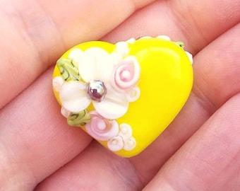 Bright Yellow Floral Heart Lampwork Focal Bead - Handmade Glass - Jewelry Design - Craft Supplies - UK