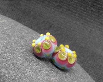 Blue and Pink Fiesta Lampwork Bead Pair - Handmade glass bead - UK Handmade