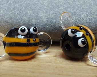 Bumble Bee Lampwork Glass Bead - ukhandmade