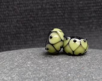 Spring Green Harlequin Lampwork Bead Pair - Handmade glass bead - UK Handmade