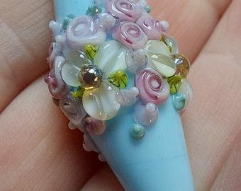 Floral lampwork focal bead  - lampwork bead - flowers - jewelry supplies - daisies