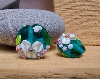 Teal Summer Bouquet - Lampwork Glass Flower Bead- UK Handmade - pair of beads