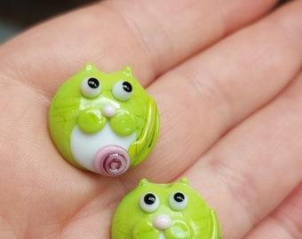 Spring Green Tuxedo kitty bead pair  - Made To Order - lampwork glass beads - UKhandmade