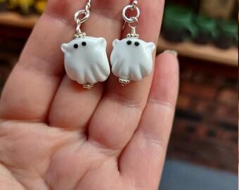 Spooky Ghostie Halloween Earrings - uk handmade