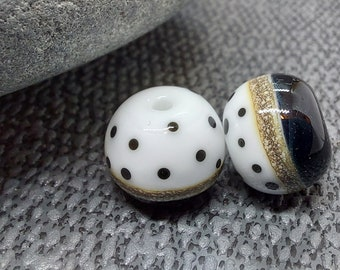 Round Half and Half Polkadot Bead Pair - Lampwork Glass Beads - UKHandmade