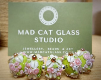 Set of 5 floral rondelle beads - lampwork beads - glass beads