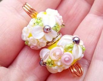 Yellow Floral Lampwork Bead Pair / Earring pair / Jewellery design / Jewelry supplies