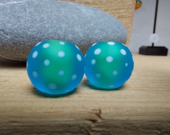 Etched turquoise polkadot beads - lampwork beads - etched glass beads