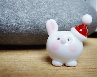 Cute Santa Hat Bunny Bead - lampwork glass bead - christmas tree decoration