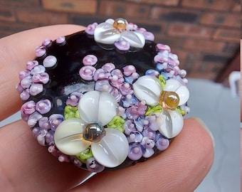 Flora - floral focal bead - Handmade glass bead - lampwork glass bead