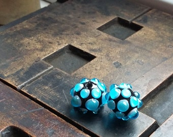 Bluegems Lampwork Glass Earring Beads by Mad Cat Glass SRA