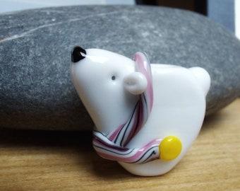 Cute Scarf Polar Bear -pink scarf- lampwork glass bead - christmas tree decoration