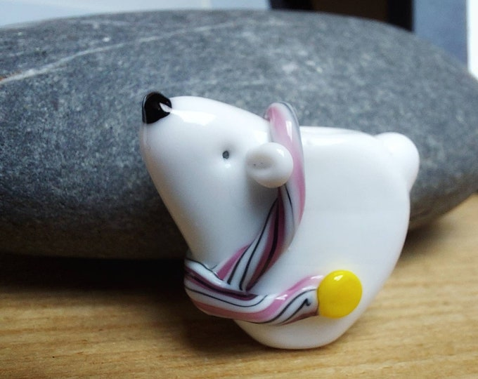 Featured listing image: Cute Scarf Polar Bear -pink scarf- lampwork glass bead - christmas tree decoration