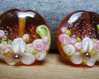 Autumn Bounty - handmade lampwork glass beads - bead pair - floral beads