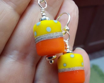 Citrus etched polkadot earrings - Hand crafted glass and silver polkadot earrings