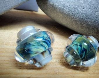Earthen Heart Ornate Bead Pair - lampwork glass beads - UK handmade