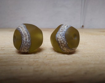 Pair of etched olive green lampwork nuggets