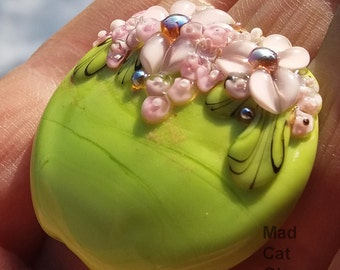 Floral lampwork focal bead - Made To Order - lampwork bead - flowers - jewelry supplies - daisies
