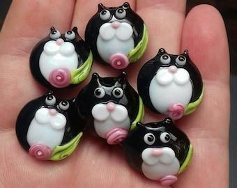 Tuxedo kitty Bead Pair - Made To Order - lampwork glass beads - UKhandmade