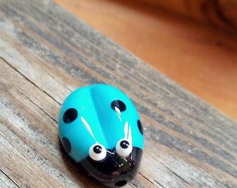 Cute Turquoise Ladybug - Lampwork Focal Glass Bead - Beading supplies - Jewellery Supplies - UK-