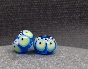 Turquoise Fiesta Lampwork Bead Pair - Handmade glass bead - UK Handmade